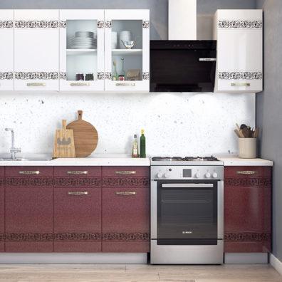Кухонный гарнитур Мечта 2.0 белый-гранат